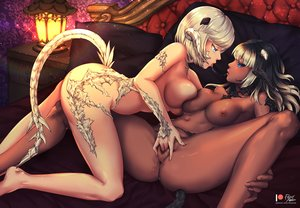 Rating: Explicit Score: 122 Tags: 2girls aqua_eyes au_ra barefoot bed black_hair breasts censored dark_skin final_fantasy final_fantasy_xiv fingering foxy_rain horns kiss logo nipples nude pussy pussy_juice short_hair signed spread_legs tail watermark white_hair yuri User: BattlequeenYume