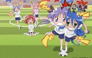 Rating: Safe Score: 9 Tags: ball hiiragi_kagami hiiragi_tsukasa izumi_konata kobayakawa_yutaka lucky_star soccer sport takara_miyuki User: N1