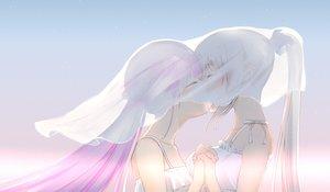 Rating: Safe Score: 88 Tags: 2girls blush close gradient gray_hair hololive jpeg_artifacts kagura_mea kagura_mea_channel kiss long_hair minato_aqua pink_hair ponytail see_through shoujo_ai yao_unripe User: RyuZU