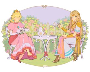 Rating: Safe Score: 29 Tags: 2girls aqua_eyes blonde_hair crown dress drink flowers jivke long_hair pointed_ears princess_peach princess_zelda rose signed super_mario_bros super_smash_bros. the_legend_of_zelda wristwear User: otaku_emmy