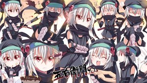 Rating: Safe Score: 99 Tags: apron elbow_gloves food gray_hair hachisuka_goemon kitahara_tomoe_(artist) ninja oda_nobuna_no_yabou red_eyes scarf short_hair skull sword tears thighhighs weapon User: C4R10Z123GT