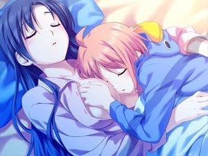 Rating: Questionable Score: 190 Tags: 2girls bed blue_hair breast_grab game_cg koutaro kusakari_natane loli open_shirt saotome_nagi short_hair sleeping tropical_kiss twinkle User: Wiresetc