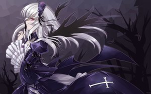 Rating: Safe Score: 56 Tags: feathers goth-loli gray_hair pink_eyes rozen_maiden suigintou wings User: HawthorneKitty