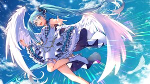 Rating: Safe Score: 53 Tags: aliasing clouds dress feathers hatsune_miku kyashii_(a3yu9mi) long_hair sky twintails vocaloid wings User: BattlequeenYume