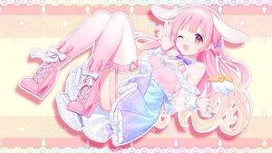 Rating: Safe Score: 62 Tags: animal_ears garter_belt kusumoto_shizuru long_hair pink_eyes pink_hair skirt stockings usami_lop wink User: BattlequeenYume