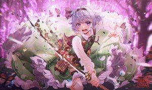 Rating: Safe Score: 57 Tags: butterfly daikazoku63 katana konpaku_youmu short_hair signed sword touhou weapon User: Dreista