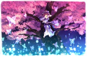 Rating: Safe Score: 9 Tags: butterfly cherry_blossoms hat japanese_clothes kimono purple_hair red_eyes saigyouji_yuyuko short_hair touhou User: Tensa