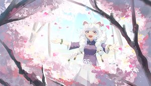 Rating: Safe Score: 34 Tags: animal_ears braids cherry_blossoms chinese_clothes flowers long_hair natori_youkai original petals pink_eyes tree twintails white_hair wristwear User: RyuZU