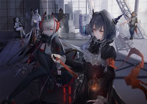 Rating: Safe Score: 86 Tags: animal_ears arknights crownslayer_(arknights) frostnova_(arknights) gloves group horns kneehighs long_hair mask mephisto_(arknights) mer open_shirt red_eyes red_hair short_hair skullshatterer_(arknights) sword tail talulah_(arknights) w_(arknights) weapon white_hair wink User: BattlequeenYume