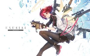 Rating: Safe Score: 51 Tags: arknights blush exusiai_(arknights) gloves gun halo milcona pantyhose red_eyes red_hair short_hair skirt weapon wings User: BattlequeenYume