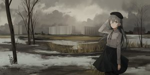 Rating: Safe Score: 37 Tags: building chihuri405 city clouds eyepatch grass gray_eyes gray_hair hat long_hair original skirt snow tree User: sadodere-chan