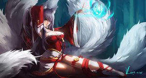 Rating: Safe Score: 164 Tags: ahri_(league_of_legends) animal_ears breasts cleavage foxgirl gray_hair japanese_clothes jpeg_artifacts league_of_legends long_hair magic multiple_tails ribbons signed tail vafar7 yellow_eyes User: Flandre93