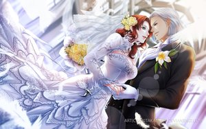 Rating: Safe Score: 35 Tags: blue_eyes building dress feathers final_fantasy final_fantasy_xiv flowers gloves gray_hair green_eyes long_hair male miki_takamoto original red_hair short_hair watermark wedding wedding_attire User: BattlequeenYume