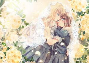 Rating: Safe Score: 43 Tags: 2girls blonde_hair blue_eyes blush brown_hair flowers hug kazuki_ryou original school_uniform shoujo_ai skirt User: RyuZU