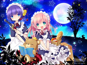 Rating: Safe Score: 27 Tags: 2girls aqua_eyes book crown food green_eyes loli long_hair maid moon night pink_hair purple_hair short_hair sky stars tagme tagme_(artist) teddy_bear User: HawthorneKitty