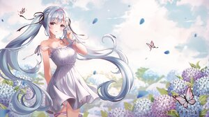 Rating: Safe Score: 62 Tags: butterfly clouds dress flowers gray_hair headband long_hair original pippin_sol sky summer_dress twintails User: BattlequeenYume