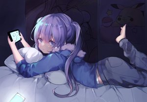 Rating: Safe Score: 115 Tags: barefoot bed blue_eyes breasts hoodie kirby kirby_(character) long_hair original phone pikachu pokemon purple_hair twintails yukari_(rinenara_doll) User: BattlequeenYume