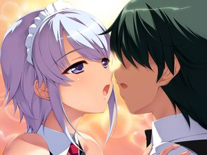 Rating: Questionable Score: 47 Tags: kiss maid purple_eyes purple_hair User: Beshounen