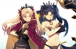 Rating: Safe Score: 24 Tags: 2girls black_hair blonde_hair breasts cape elbow_gloves ereshkigal fate/grand_order fate_(series) gloves ishtar_(fate/grand_order) long_hair navel tagme_(artist) twintails User: RyuZU