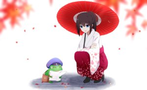 Rating: Safe Score: 42 Tags: aa_(sin2324) aliasing animal autumn blue_eyes brown_hair frog hat japanese_clothes kimono leaves original paper umbrella User: RyuZU
