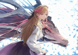 Rating: Safe Score: 75 Tags: blonde_hair dragon headdress long_hair original red_eyes shirt skirt somehira_katsu User: BattlequeenYume