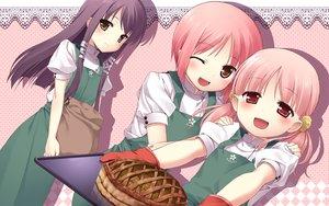 Rating: Safe Score: 25 Tags: akino_momiji apron b.k blush food gloves kiriyama_sakura sakura_musubi sera_karen wink User: korokun