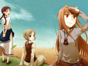 Rating: Safe Score: 38 Tags: animal_ears apple ayakura_juu blonde_hair brown_eyes brown_hair chloe dress fang grass horo long_hair nora_ardent orange_hair purple_eyes red_eyes scan short_hair spice_and_wolf tail wink wolfgirl User: 秀悟