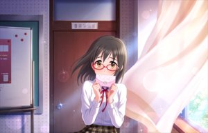 Rating: Safe Score: 10 Tags: annin_doufu glasses idolmaster idolmaster_cinderella_girls idolmaster_cinderella_girls_starlight_stage kamijou_haruna orange_eyes seifuku short_hair User: luckyluna