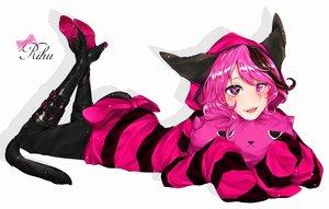 Rating: Safe Score: 109 Tags: animal_ears bicolored_eyes boots catgirl fang kyogoku_(mariaxnonno) long_hair original pink_hair tail User: Flandre93