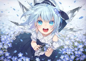 Rating: Safe Score: 44 Tags: aqua_eyes aqua_hair bow cirno dress fairy flowers loli short_hair signed summer_dress touhou toutenkou wings User: BattlequeenYume