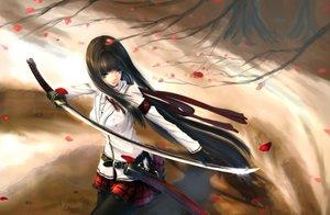 Rating: Safe Score: 192 Tags: black_eyes black_hair gloves katana kikivi long_hair original pantyhose petals sword weapon User: Flandre93
