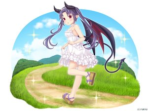 Rating: Safe Score: 21 Tags: blush choker clouds dress grass headband horns long_hair monmusu_harem namaru_(summer_dandy) purple_hair red_eyes richelle_(monmusu_harem) skirt_lift sky summer_dress tail twintails wings User: otaku_emmy
