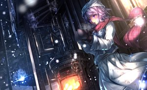 Rating: Safe Score: 214 Tags: gloves hat letty_whiterock purple_eyes purple_hair ryosios scarf snow touhou User: FormX