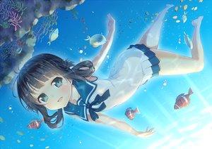 Rating: Questionable Score: 103 Tags: ichi_makoto nagi_no_asukara shiodome_miuna underwater water User: gnarf1975