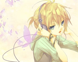 Rating: Safe Score: 19 Tags: aliasing all_male animal blonde_hair blue_eyes butterfly headphones kagamine_len kuroi_(liar-player) male ponytail short_hair vocaloid User: MissBMoon