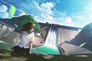 Rating: Safe Score: 56 Tags: brown_hair clouds leaves mocha_(cotton) original scenic seifuku short_hair signed skirt sky tree water waterfall User: luckyluna