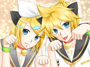 Rating: Safe Score: 14 Tags: animal_ears catboy catgirl collar kagamine_len kagamine_rin vocaloid User: HawthorneKitty