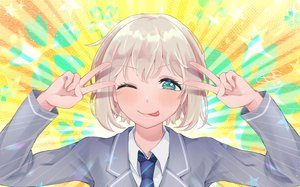 Rating: Safe Score: 30 Tags: aoba_moka aqua_eyes bang_dream! blush close gray_hair parody school_uniform shachiku_niku short_hair tie wink User: otaku_emmy