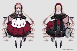 Rating: Safe Score: 35 Tags: aliasing blonde_hair boots cape dress gloves headdress lolita_fashion long_hair ribbons rozen_maiden shikimi_(yurakuru) shinku twintails User: otaku_emmy