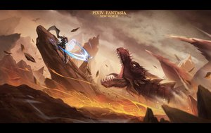 Rating: Safe Score: 94 Tags: dragon fire pixiv_fantasia sword tpip_(aixuan) weapon User: FormX