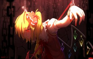 Rating: Questionable Score: 164 Tags: bai_yemeng blonde_hair blood bondage chain crying dress flandre_scarlet ponytail red_eyes shackles signed spear tears touhou vampire weapon wings User: IchimaruSakai