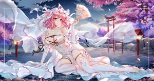 Rating: Safe Score: 69 Tags: blush breasts cleavage clouds dress fan flowers hat headdress night pink_hair red_eyes saigyouji_yuyuko sky stars thighhighs torii touhou tree water watermark wedding_attire yue_xiao_e User: BattlequeenYume