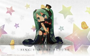 Rating: Safe Score: 70 Tags: chibi green_eyes green_hair hat hatsune_miku photoshop stars twintails vocaloid User: Mund