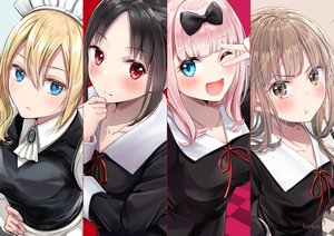 Rating: Safe Score: 127 Tags: akasaka_asa black_hair blonde_hair blue_eyes blush brown_eyes brown_hair fujiwara_chika hayasaka_ai headdress iino_miko kaguya-sama_wa_kokurasetai_~tensai-tachi_no_renai_zunousen~ maid pink_hair red_eyes school_uniform shinomiya_kaguya wink User: FormX