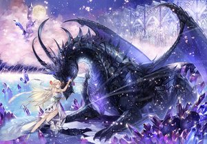 Rating: Safe Score: 141 Tags: blonde_hair corset dragon dress kyouka_hatori long_hair moon original petals pointed_ears tree water wings User: otaku_emmy