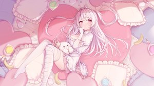 Rating: Safe Score: 140 Tags: bandage breasts candy cleavage dress elbow_gloves food fruit gloves ice_cream_mad_labo lollipop long_hair madoromi_more pink_eyes ramunezake thighhighs tiara twintails white_hair User: BattlequeenYume