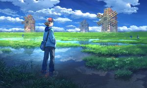 Rating: Safe Score: 40 Tags: all_male clouds grass male palpitoad pippi_(p3i2) pokemon rain reflection scenic sky touya_(pokemon) water windmill User: FormX
