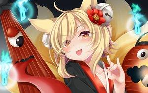Rating: Safe Score: 73 Tags: animal_ears blonde_hair blush brown_eyes close foxgirl inari_(sennen_sensou_aigis) multiple_tails ogami_kazuki sennen_sensou_aigis short_hair tail User: RyuZU