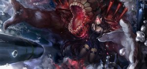 Rating: Safe Score: 90 Tags: battleship-symbiotic_hime black_hair dress horns kantai_collection kzcjimmy long_hair red_eyes User: Flandre93