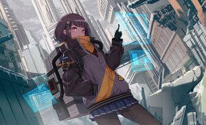 Rating: Safe Score: 12 Tags: black_hair blush building city gloves original pantyhose red_eyes ruins short_hair skirt watermark yu_ni_t User: SciFi